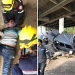 Una camioneta cayó al vacío en la Cota Mil y el conductor quedó atrapado