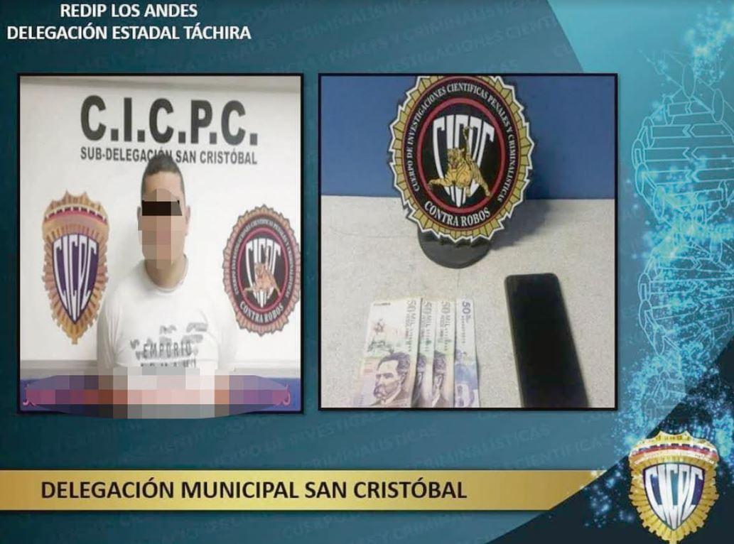 García fue aprehendido, en flagrancia, cuando intentaba cobrar 200 mil pesos por devolver a una mujer los documentos personales que le fueron robados durante un atraco. (Foto: Prensa Cicpc Táchira)